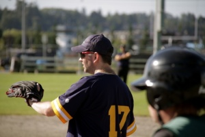 Baseball player on the sidelines